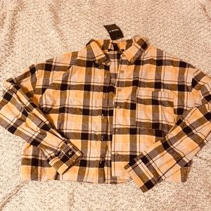 Cropped oversized yellow flannel